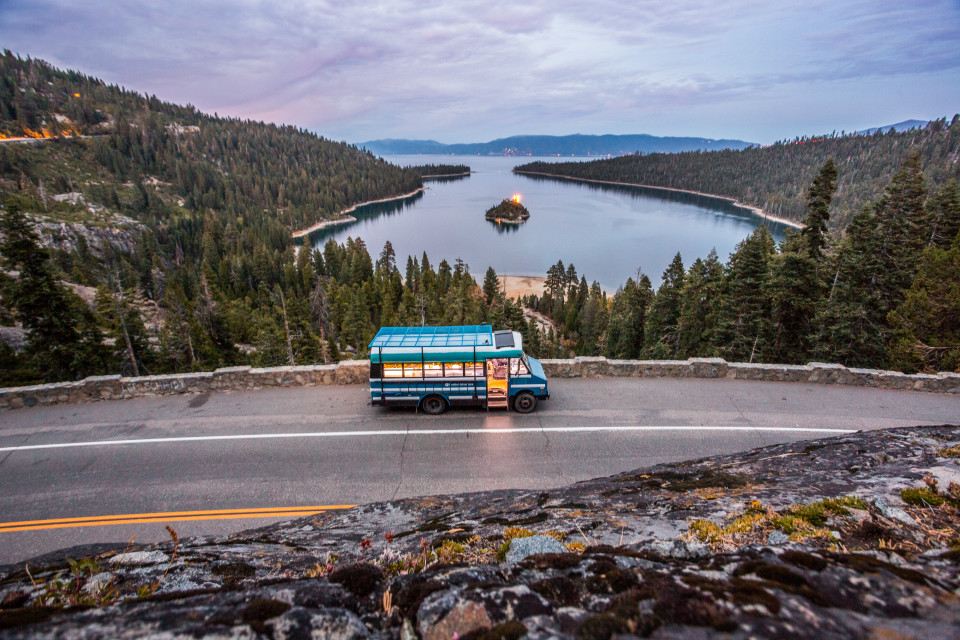 Blue Bus Adventure Tiny Home Lake Tahoe